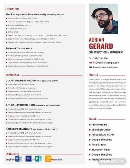free construction manager resume