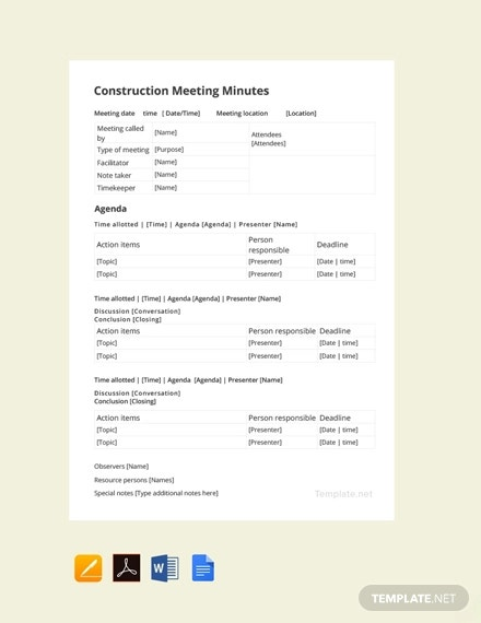 free construction meeting minutes template1