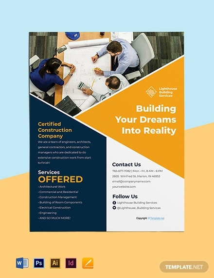 free editable construction flyer template