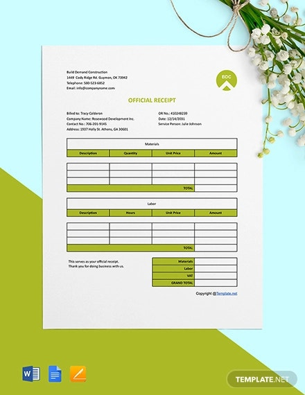 free editable construction receipt template
