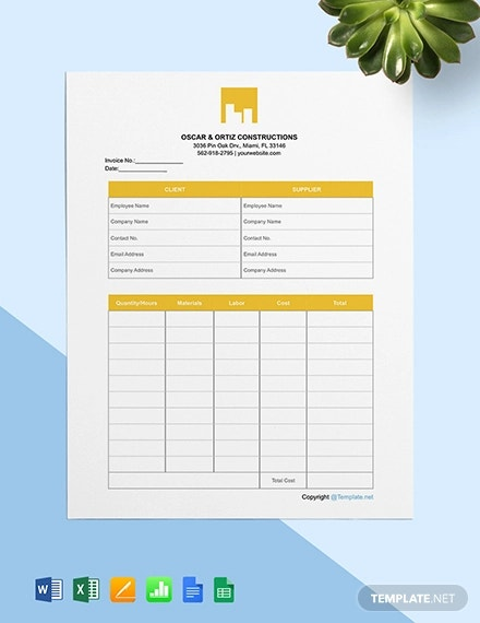 free printable construction invoice template