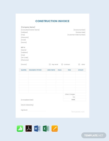 free sample construction invoice template1