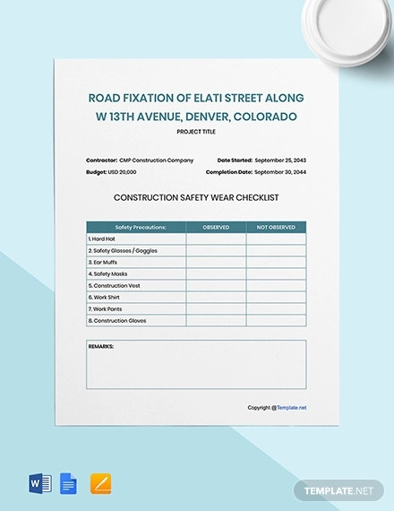 Construction Checklist Template 20 Free Word Pdf Documents Download Free Premium Templates