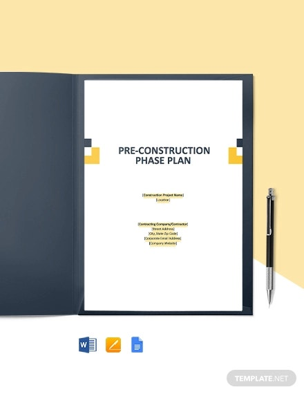 pre construction phase plan template