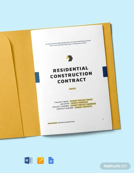 residential construction contract template