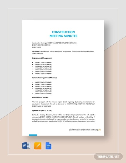 sample construction meeting minutes template1