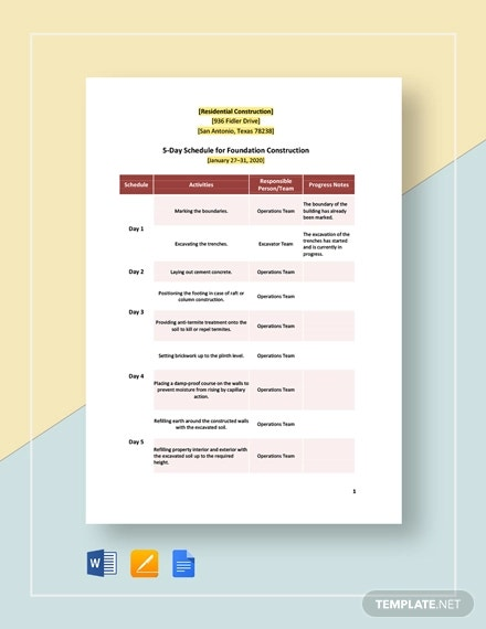 5 day residential construction schedule template