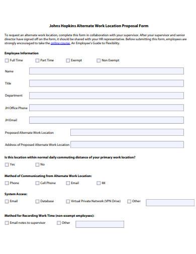 alternate work location proposal form
