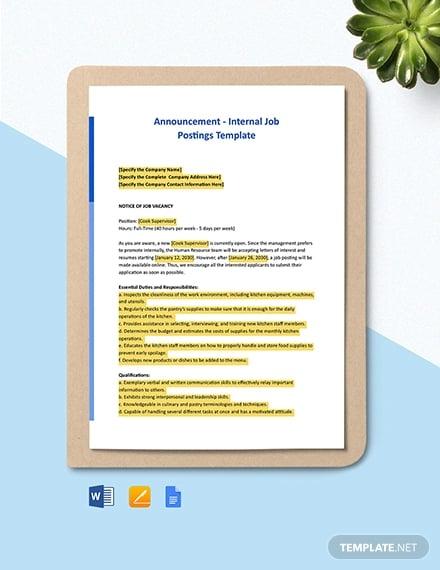 announcement internal job postings template