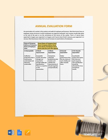 annual evaluation form template1