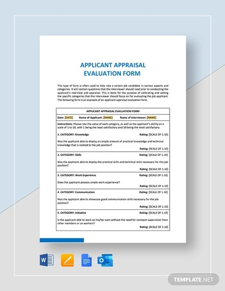 applicant appraisal form evaluation template