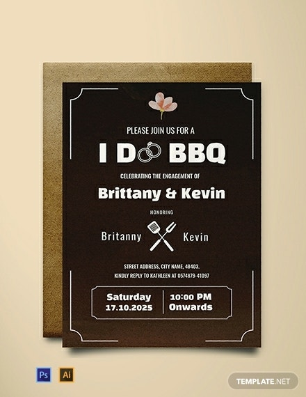 bbq engagement invitation template