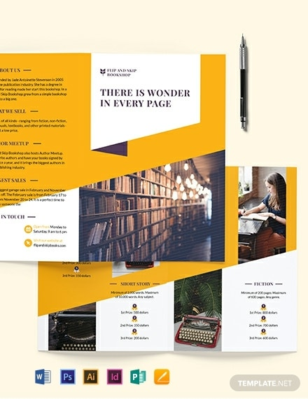 book store bi fold brochure template