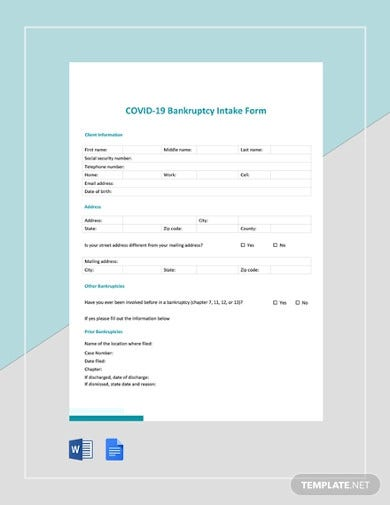 covid 19 bankruptcy intake form template
