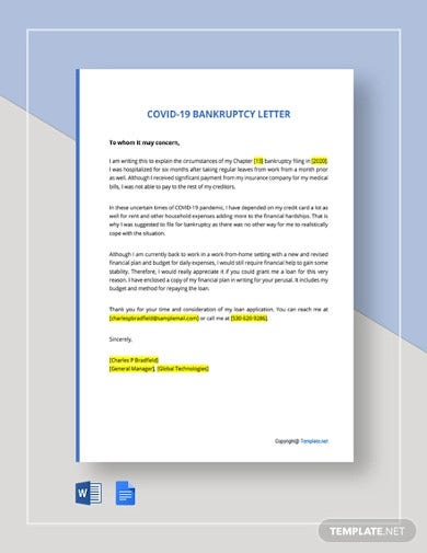 covid 19 bankruptcy letter