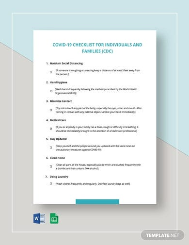 covid 19 checklist for individuals and families cdc template
