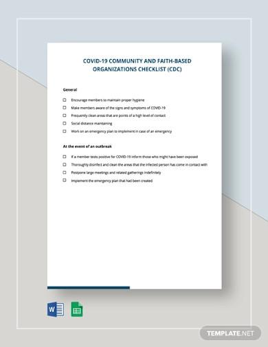 covid 19 community and faith based organizations checklist cdc template
