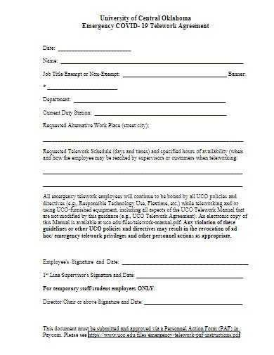 covid 19 emergency telework agreement template