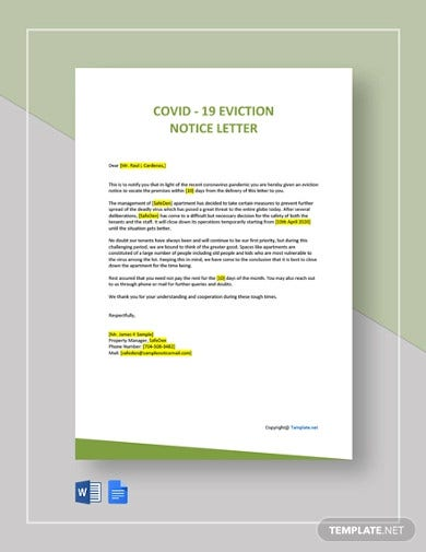 covid 19 eviction notice letter template
