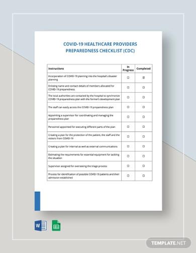 covid 19 healthcare providers preparedness checklist cdc template