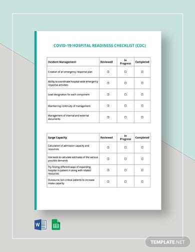 covid 19 hospital readiness checklist cdc template