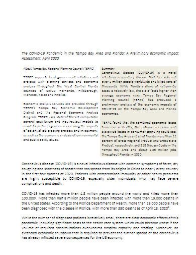 covid 19 pandamic economic impact assessment