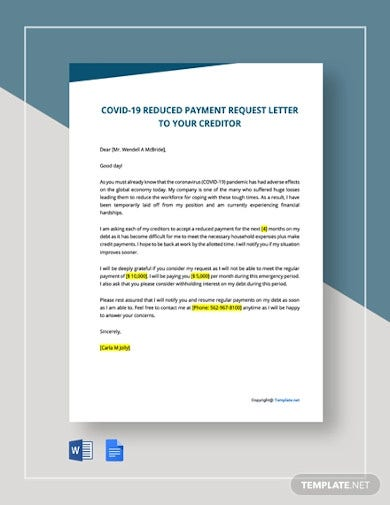 covid 19 reduced payment request letter to your creditors