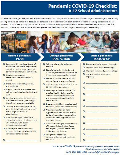 covid 19 schools checklist template