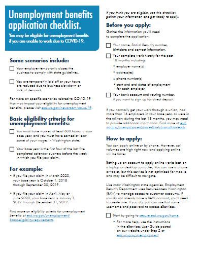 covid 19 unemployment applications checklist