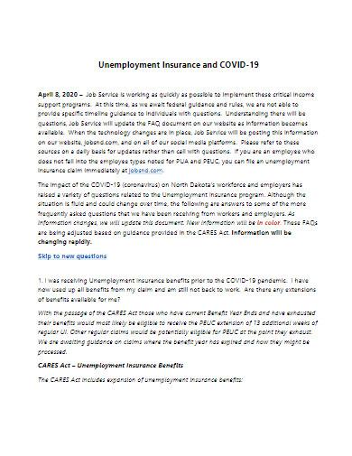 covid 19 unemployment insurance template