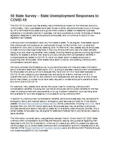 covid 19 unemployment survey template