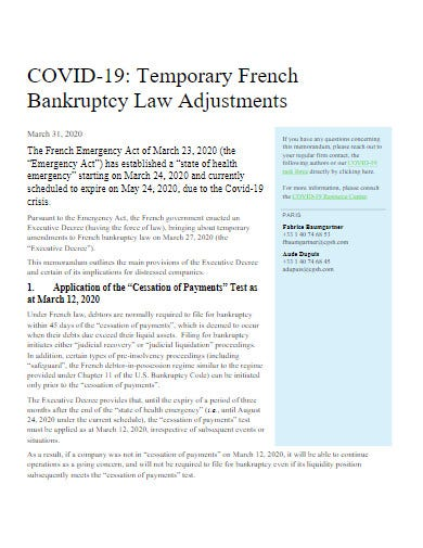 covid19 temporary bankruptcy law adjustments template