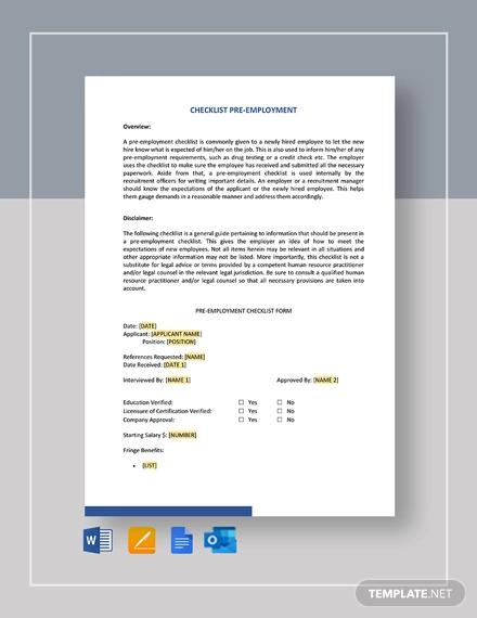 checklist pre employment template