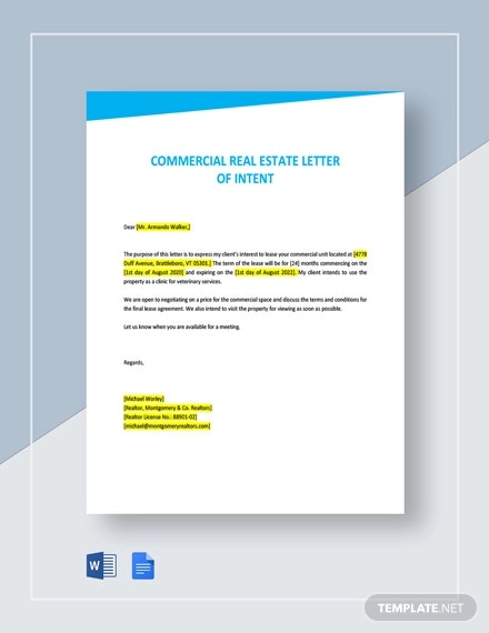 commercial real estate letter of intent template1