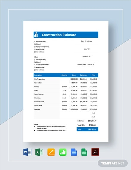 construction estimate template1