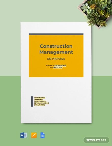 construction job proposal template