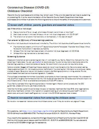 coronavirus disease covid 19 childcare checklist