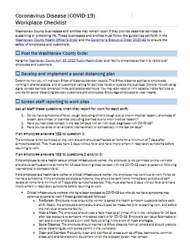 coronavirus disease covid 19 workplace checklist template