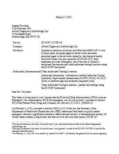 covid 19 diagnostics letter template