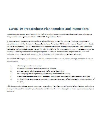 covid 19 preparedness plan template