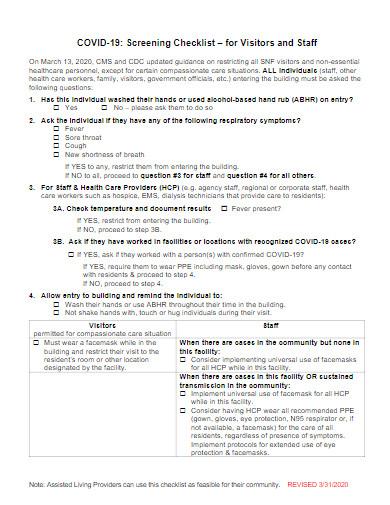 covid 19 screening checklist template