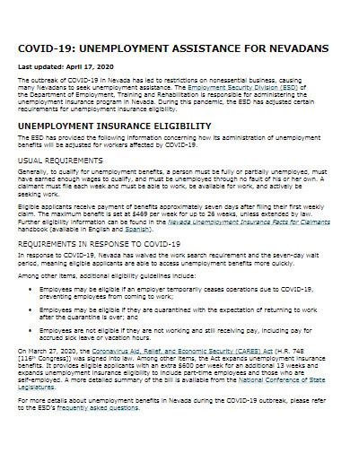 covid 19 unemployment assistance template
