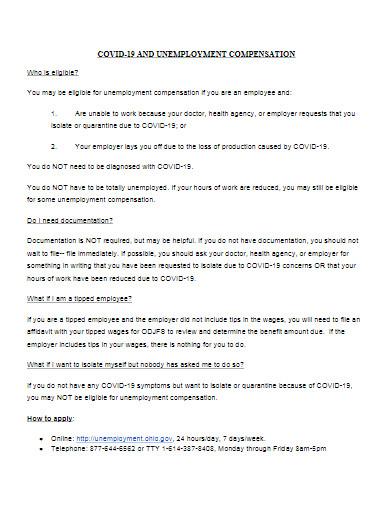 covid 19 unemployment compensation template