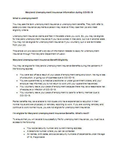covid 19 unemployment insurance information