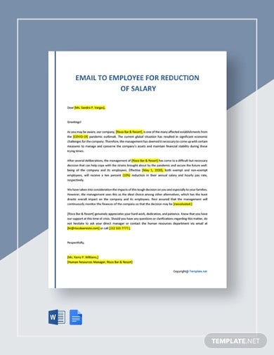 email to employee for reduction of salary1