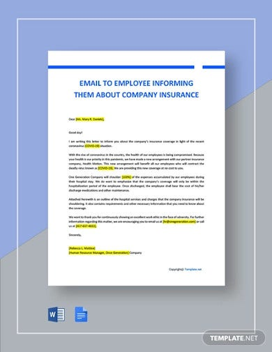 email to employee informing them about company insurance covering covid 19