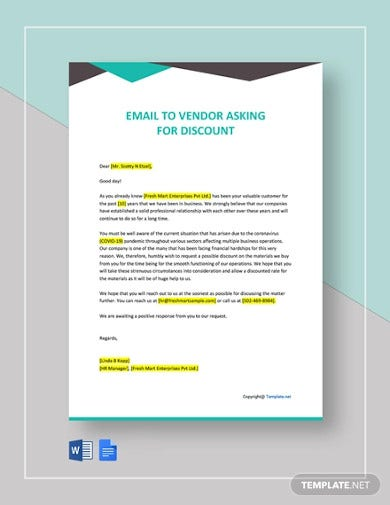 email to vendor asking for discount