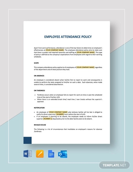 employee attendance policy template
