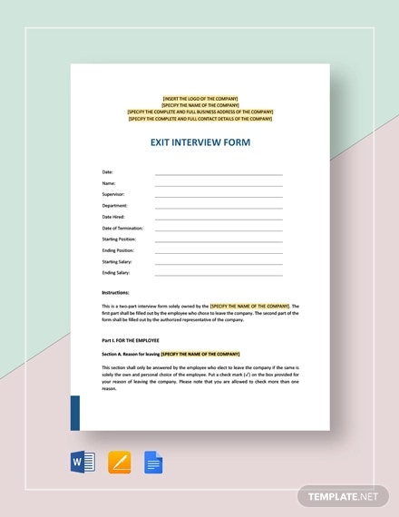 employee exit interview form template