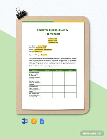 employee feedback survey for manager template1
